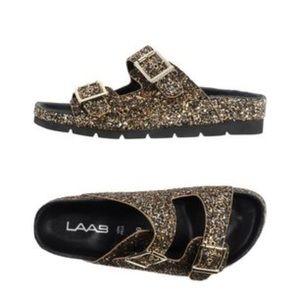 LAAB Gold Glitter Slides Sandals NEW Womens 10M